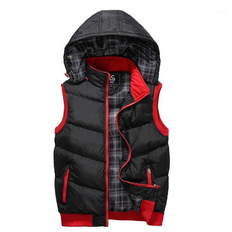 Maré woodvoice inverno colete com capuz homens chapéu destacável quente casacos morno casacos de qualidade casual colete masculino casaco homme plus size1