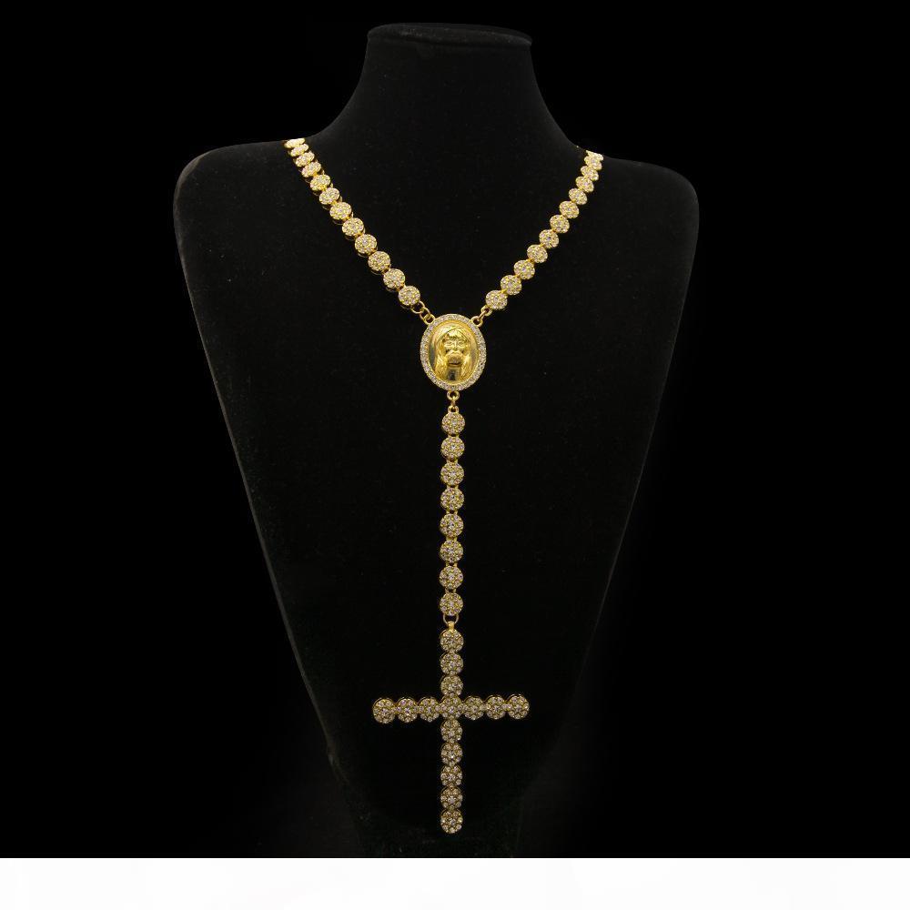 Hommes Luxury Long Collier Gold Argent Plein Glafe Strass Jésus Jésus Visage avec Big Croix Pendentif Collier Collier Rosaire Bijoux punk