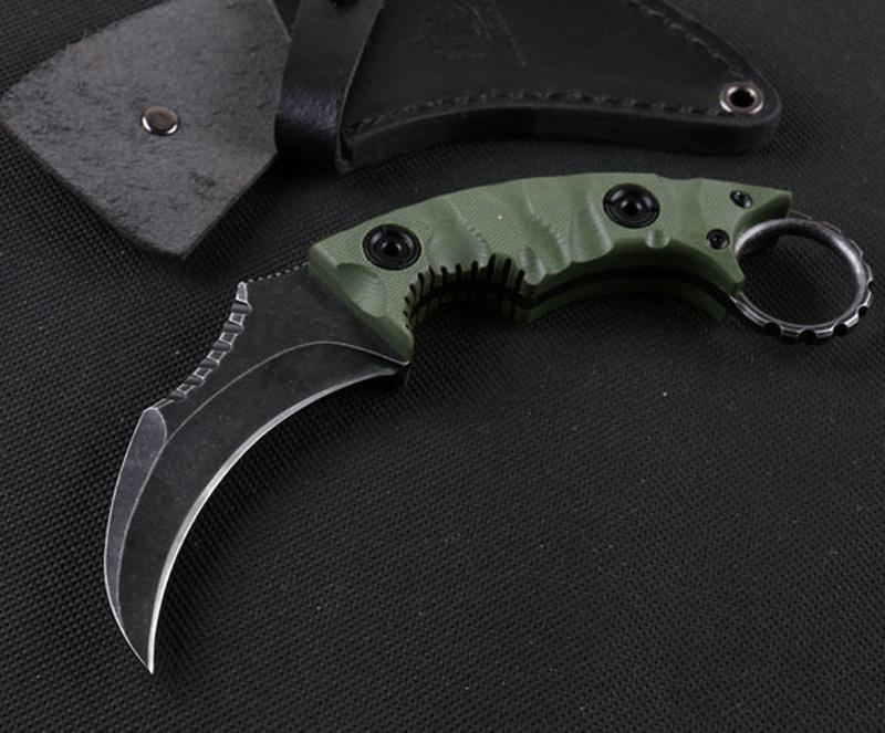 Yüksek Kalite Sabit Bıçak Karambit Açık Taktik Pençe Bıçak D2 Saten Blade Tam Tang G10 Kolu Ile Deri Kılıf