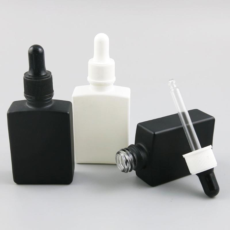 10 x 30ml bottiglie portatile nero quadrato di vetro bianco Perfum flacone con contagocce olio essenziale del profumo contenitore cosmetico