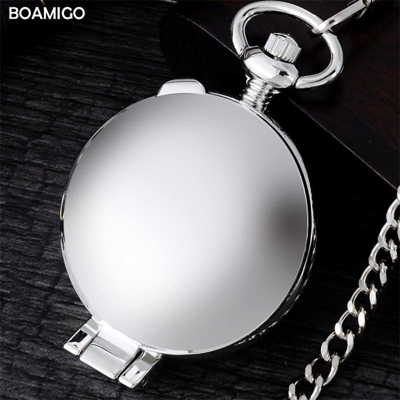 Fob мужские карманные часы антикварные механические часы Boamigo бренд скелет арбический номер часы серебряные часы Reloj Hombre T200502