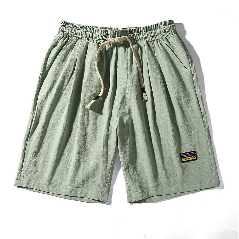 2020 Summer Hommes Shorts Mode Coton et Linge Beach Shorts Hommes Casual Couleur Solid Pantalon court Bermuda Combinaison