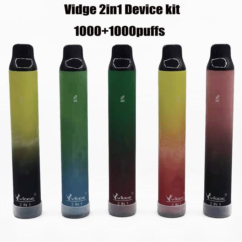 Original VIDGE 2in1 disposable vape Device 3ml+3ml 2000 Puff Portable Pod 950mAh 2 in 1 Empty Pen Kit VS Puff Plus xxl air bar