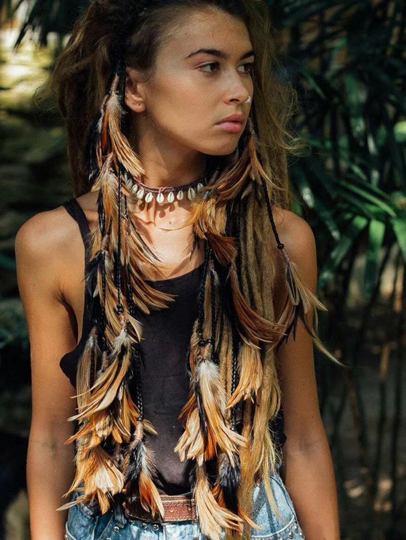 Kızlar için Girlgo tüy bandı saç aksesuarları etnik hippi catcher tüy headdress tavuskuşu takı hediye toptan