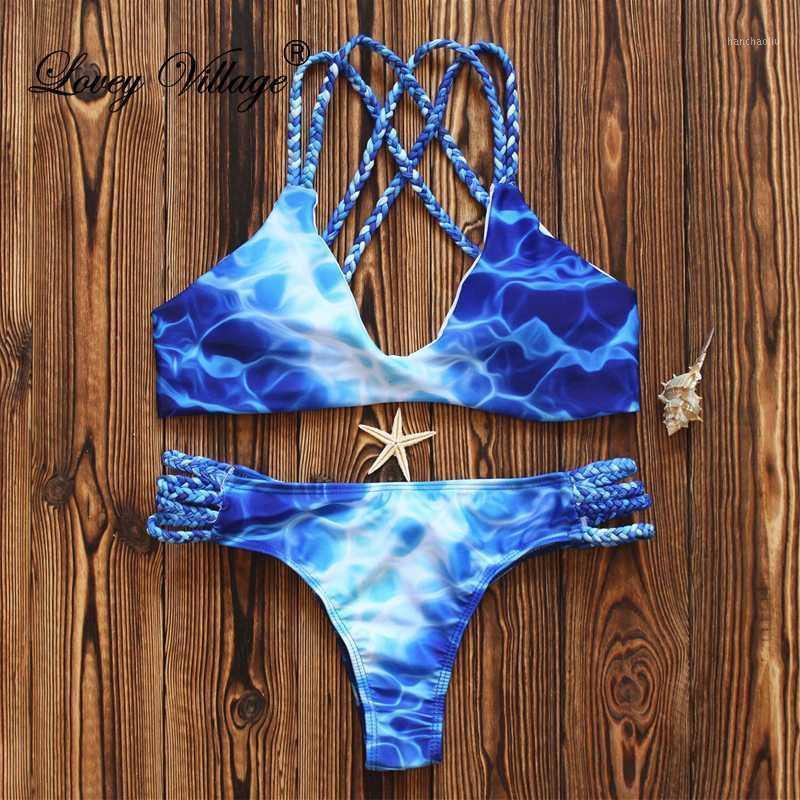 Bikinis مجموعة Lovey Village 2021 المرأة الأزرق طباعة ملابس السباحة الدانتيل متابعة بيكيني الصيف مثير ملابس السباحة الاستحمام الدعاوى البرازيلي بيكيني 1