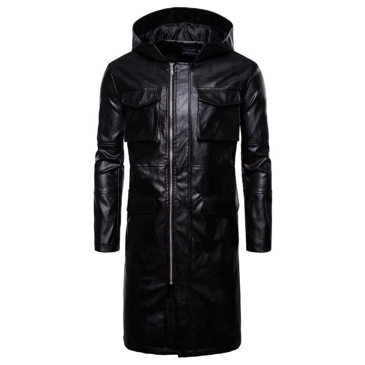 Hommes à capuche à capuche longue roue-vent veste de style style poches en cuir manteau mâle manteau européen / américain Taille la plus récente veste en cuir