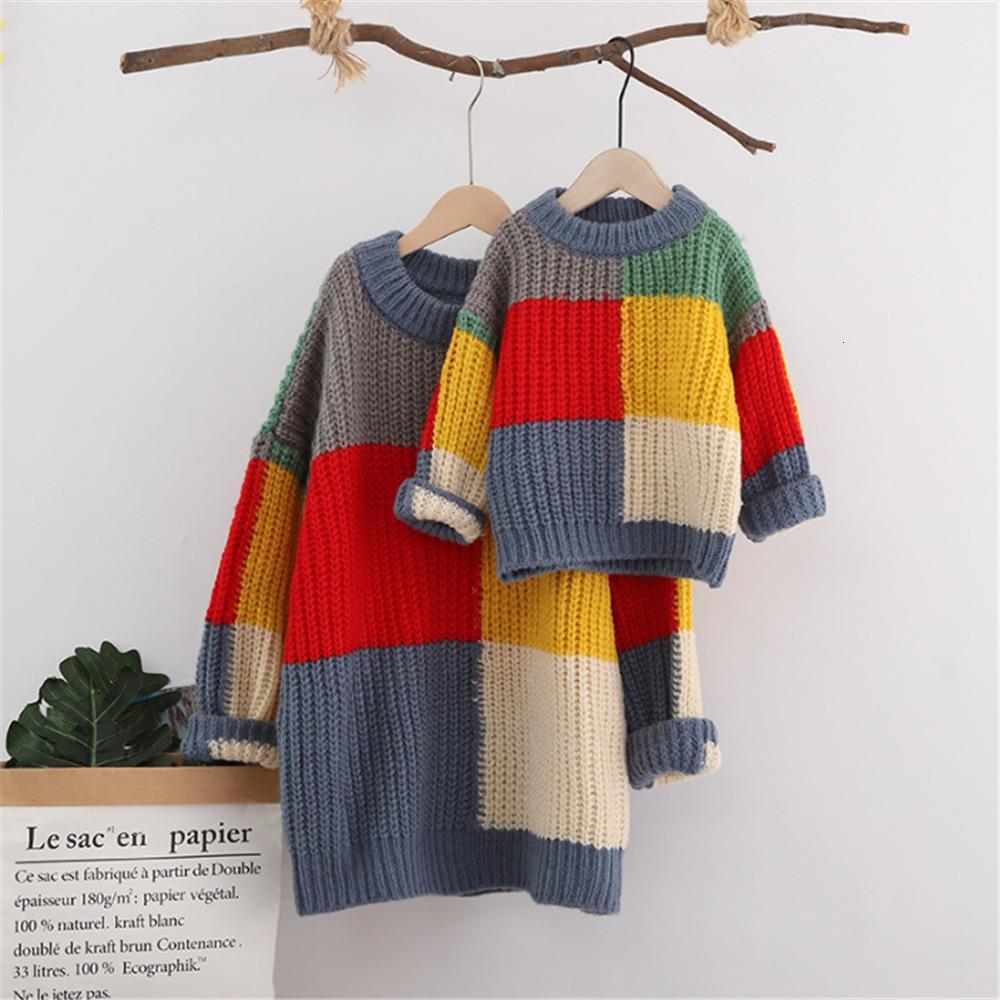 Famille Correspondance Sweaters Outfit Vêtements Mère Mother Manches Longues Mohair Vêtements chauds Maman et moi Pull de Noël Y1215