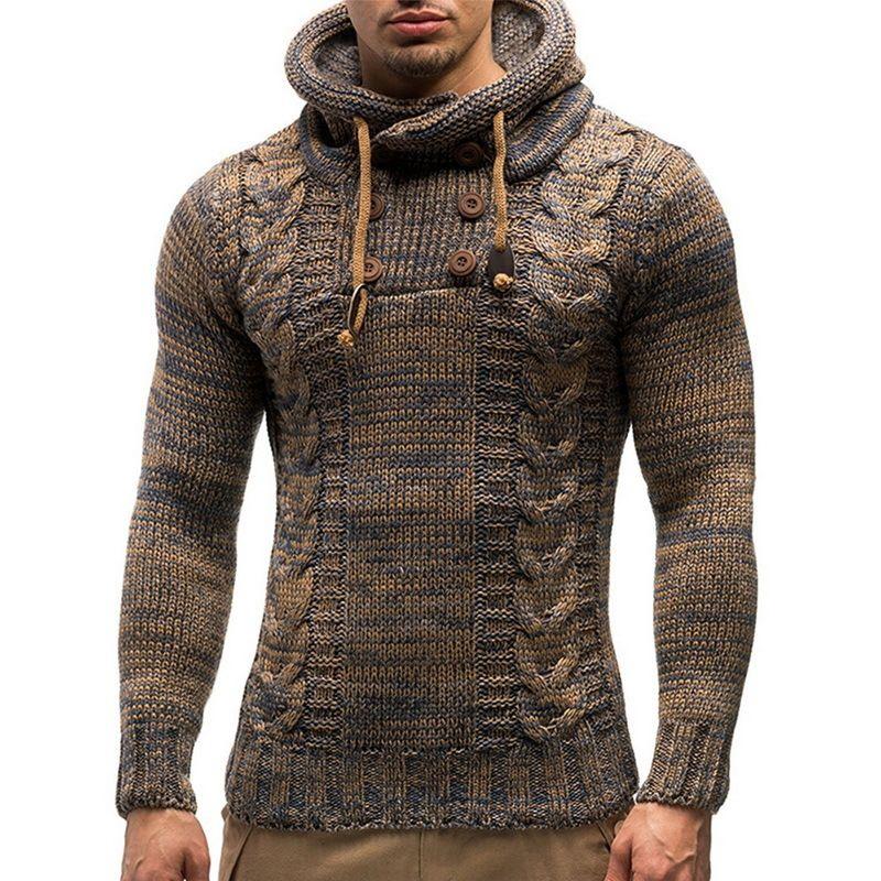 Mode Mode Massive Farbe Strick Kapuzenpullover 2020 Neue Oansatz Langarm Slim Fit Pullover Tops Herbst Winter