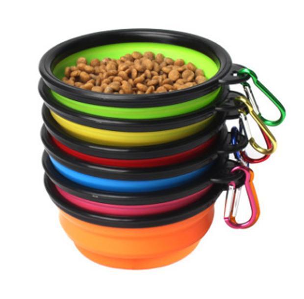 طي الكلب السلطانية سيليكون طوي الحيوانات الأليفة القط الغذاء تغذية المياه وعاء السفر