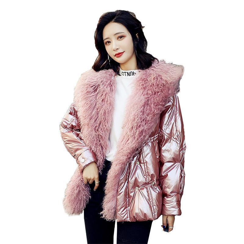 Strand Wolle Daunen Baumwolljacke frauen Kurzer Winter Neue Stil Extravagante Mode Taille Trend Helle Baumwoll-gepolsterte Kleidung F1203