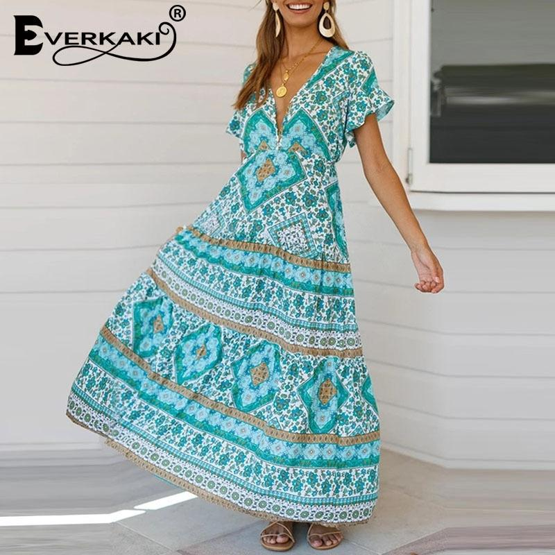 Everkaki Boho Long Dress Women Floral Print Summer Gypsy Vestidos Ladies Bohemian Maxi Dresses Casual Female Spring New Y200805