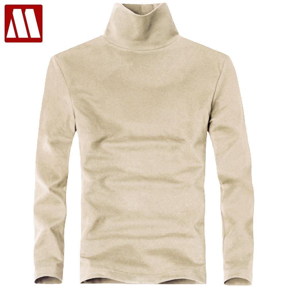 Plus Size neue Art und Weise der Marken-Männer Elastic-T-Shirt Solide Turtle Neck Langarm T-Shirt Männer Slim Fit-Sommer-beiläufige Mann-T-Shirts 1118