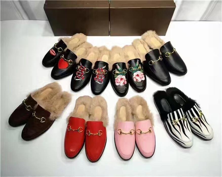 Mocassini Princetown Le Fu Pantofole Pantofole 2018SS Nuovi Capelli europei Really Stand Mezza Pantofole di lana Horsetbit The Horsebit Scuffs