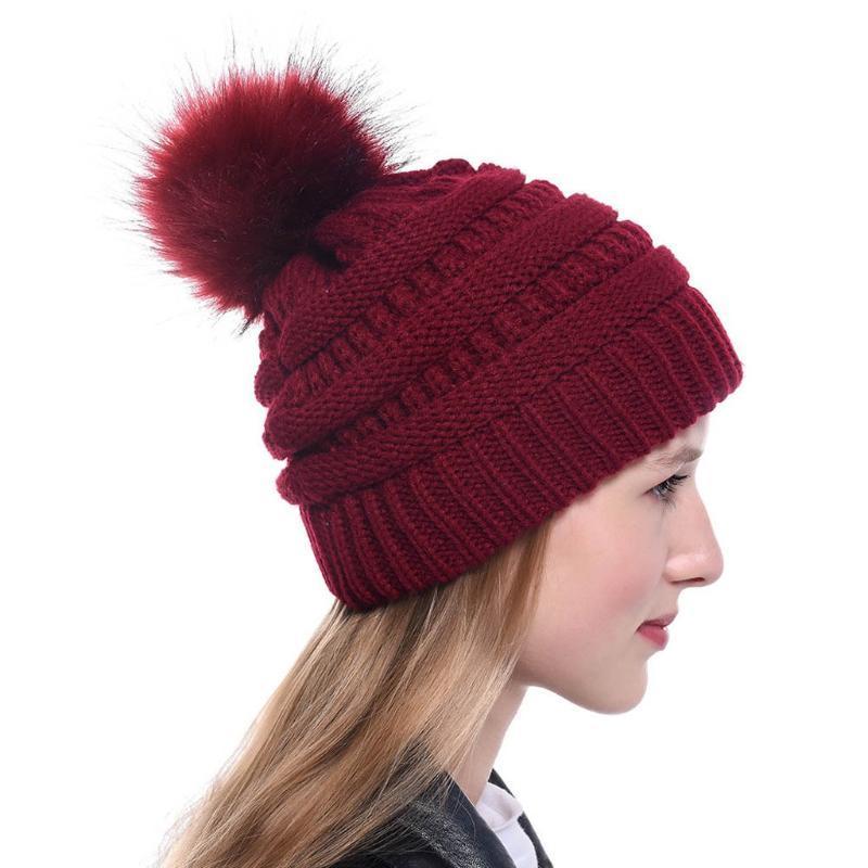 Hiver chaleur chaude chapeau fourrure pompon chapeau hiver femmes beanie pour femmes 2020 douce chaude féminine fourrure pom pom czapka zimowa