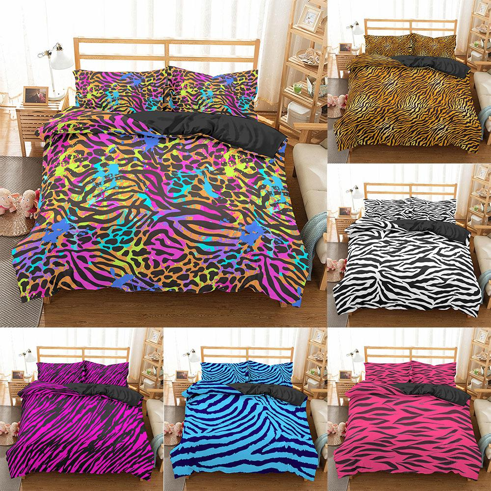 Homesky Lusso Leopard Stampa Biancheria da letto Set Duty Cover Duvet Twin Full Queen King Size Bed Cover Soft Consolatore Lenzuola Bedclothes 201127