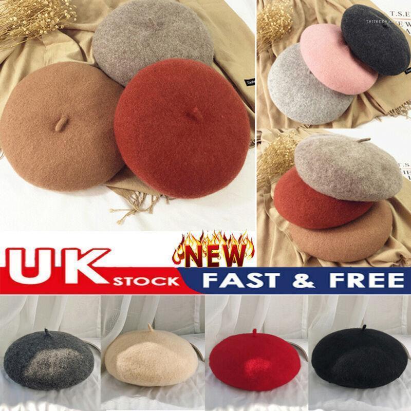 Neue Frauen gril einfacher Mütze Wolle Französischer Barett Hut Winter Herbst Warme Mode Hat1