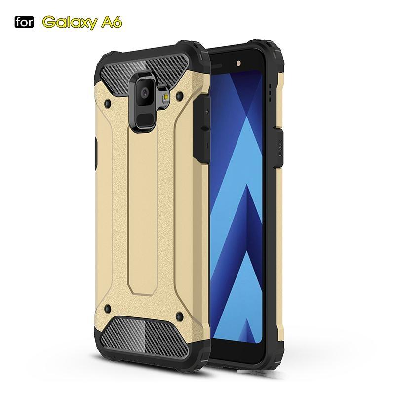 Schwere Rüstung Slim Hard Gummi Cover Silicon Phone Case für Samsung A6 Hybrid Rückseite