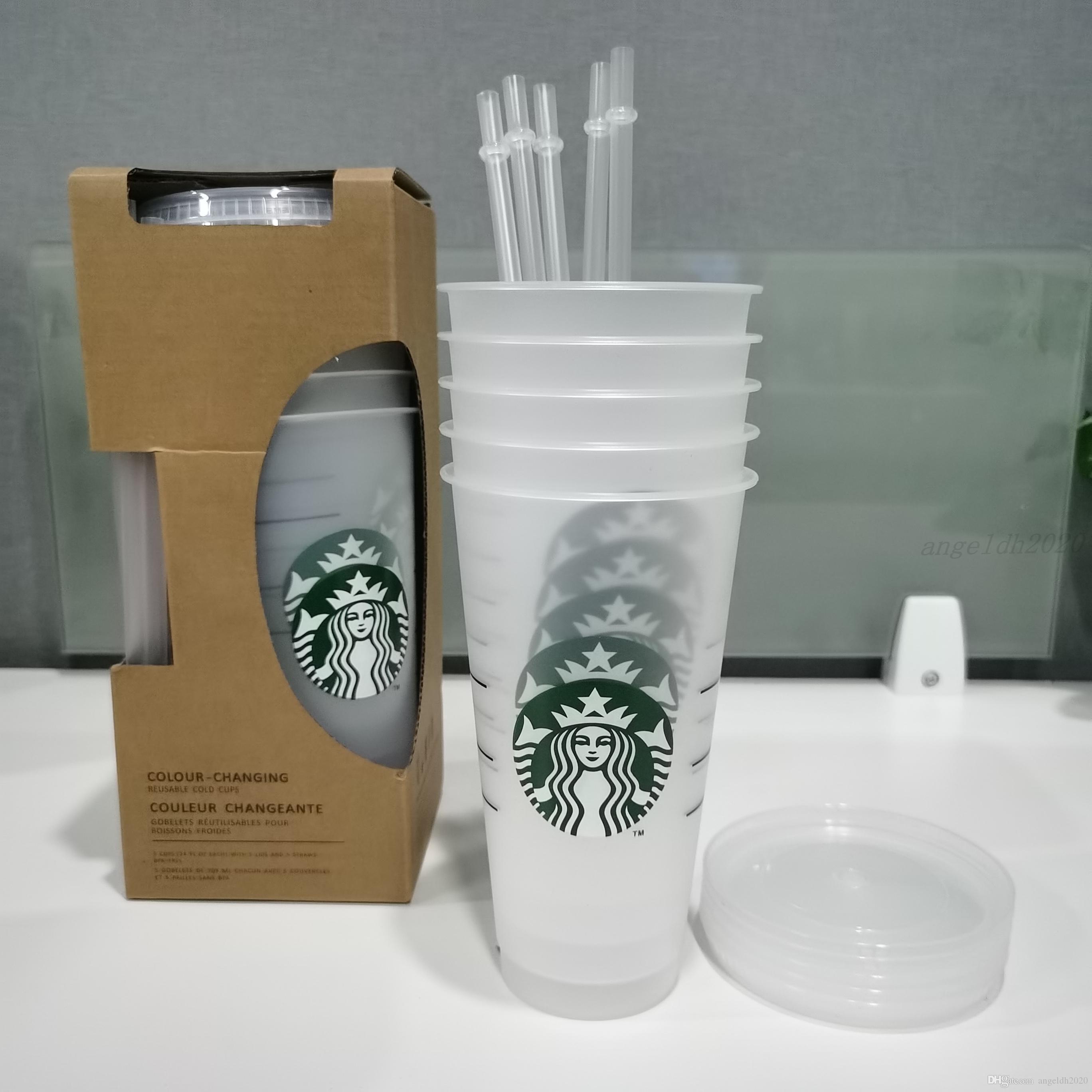 1Set = 5 stücke 24z transparente Plastikbecher Saftbecher, die keine Farbe ändern Wiederverwendbare Getränke-Tasse Starbucks-Tassen mit Deckel und Strohhalmen Coffe