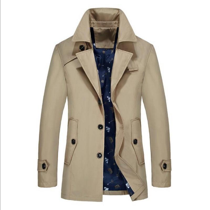 Brand Male Overcoat Long Jacket Men Coat Men's Trench Coat Trenchcoat Masculina Windbreaker Outwear Cotton Fabric Trench