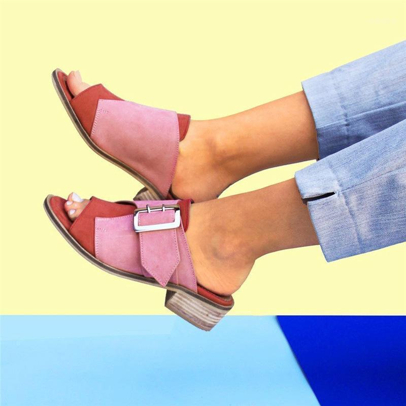 women summer beach sandals low heels shoes woman plus size PU leather open toe slippers sandalias mujer sapato feminino D0971
