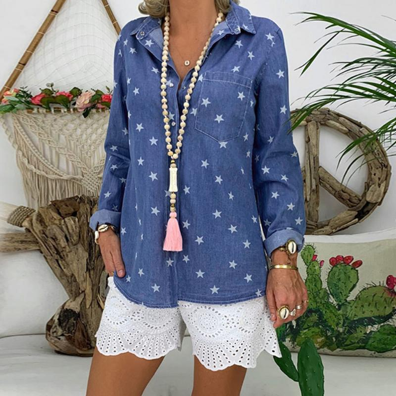 Women Blouses And Tops Casual Plus Size Turn Down Neck Long Sleeve Denim Printed Blouse Clothes Blusas Mujer De Moda 2021