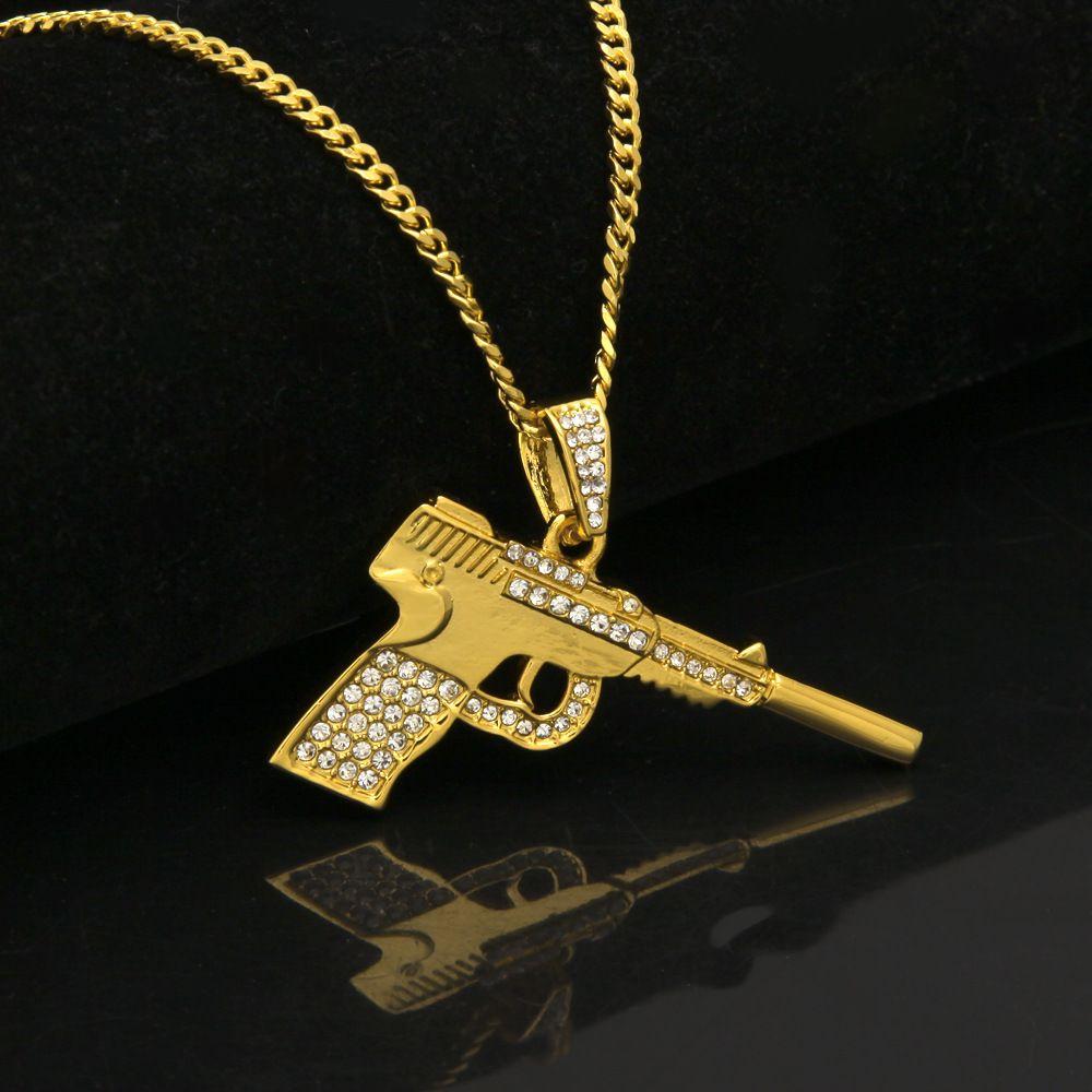 Ciondolo Out Lega P38 Pendente pistola corta collana ghiacciata con Hip Hop Miami cubana catena monili dell'oro argento Moda Uomo di Hip Hop