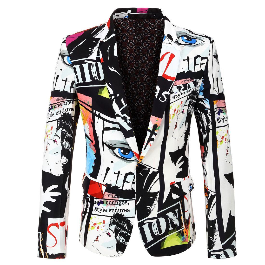 Mens 2020 nouveau blazer pour hommes de hip hop avec imprimé élégant et blazers décontractés hommes costumes