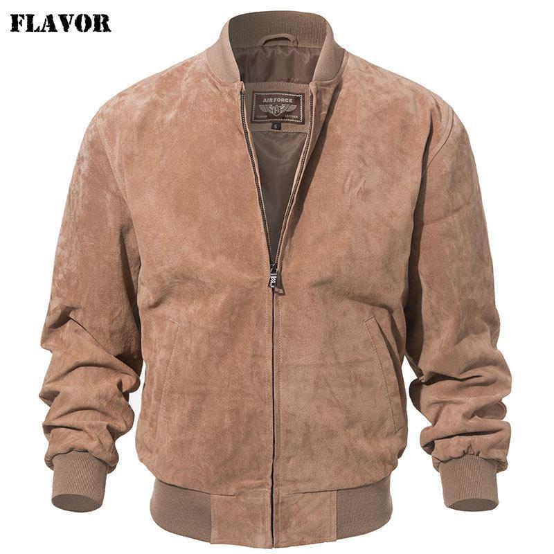 Saveur Hommes Classic Real Real Pigskin manteau véritable veste en cuir de bombasse de baseball 201127