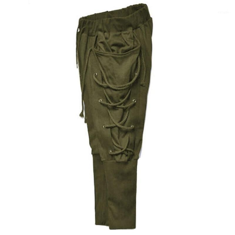 Мужские брюки Мужчины Сплошной цвет мешковатый карандаш Навигатор повязки элацические талии брюки1