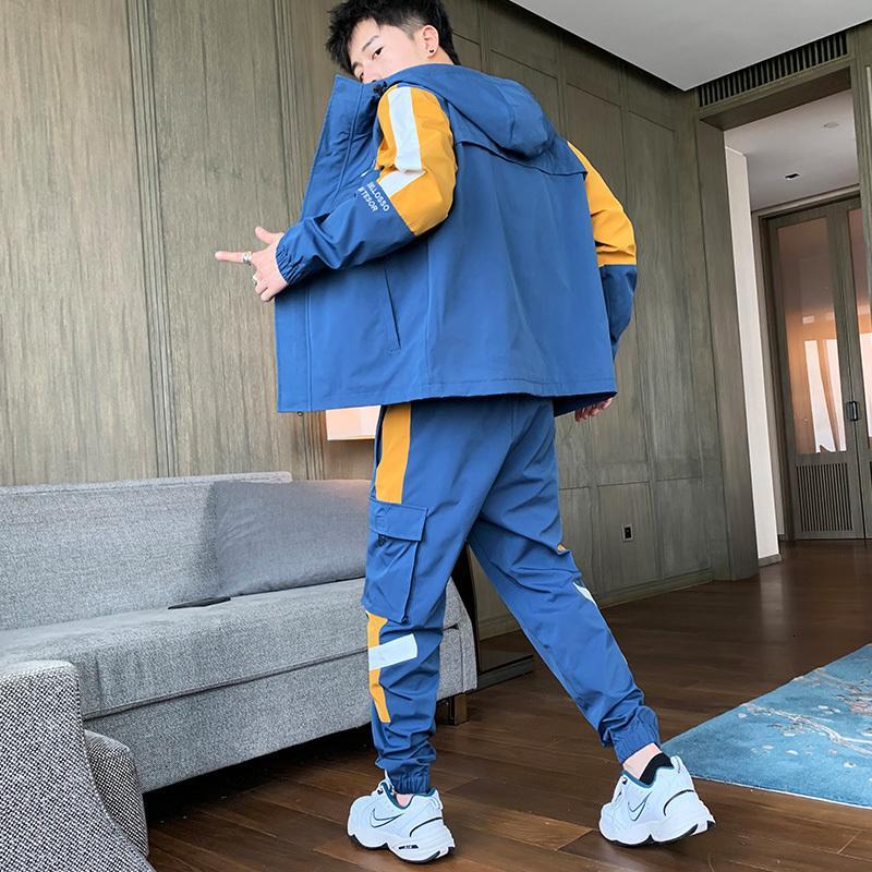 Streetwear Masculino Homem de Tracksuit 2020 Dois Peça Set Sweatsuit Homens Macacões de Lazer Terno Jaquetas Com Capuz + Hip Hop Harlan Calças