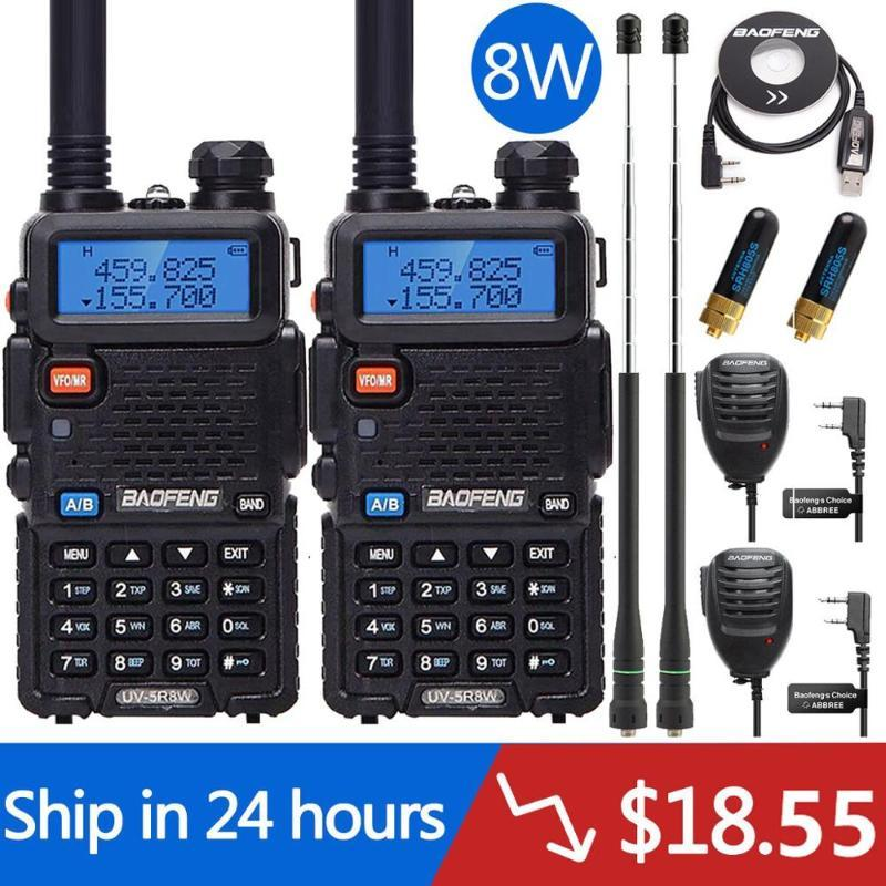 2 PCS 5W 8W Baofeng UV-5R Tri-Power 8/4 / 1W Walkie Talkie Banda Dual Transceptor UV5R Caça Dois Way Radio UV-9R UV-82 BF-F8HP