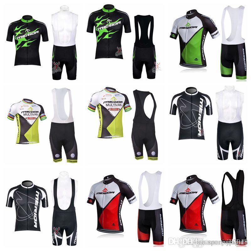2018 Merida Men Team Cycling Manica corta Maglia Maglia Shirt Bib Shorts Set Abbigliamento da ciclismo Traspirante Mountain Mountain Bike Sportswear F1102
