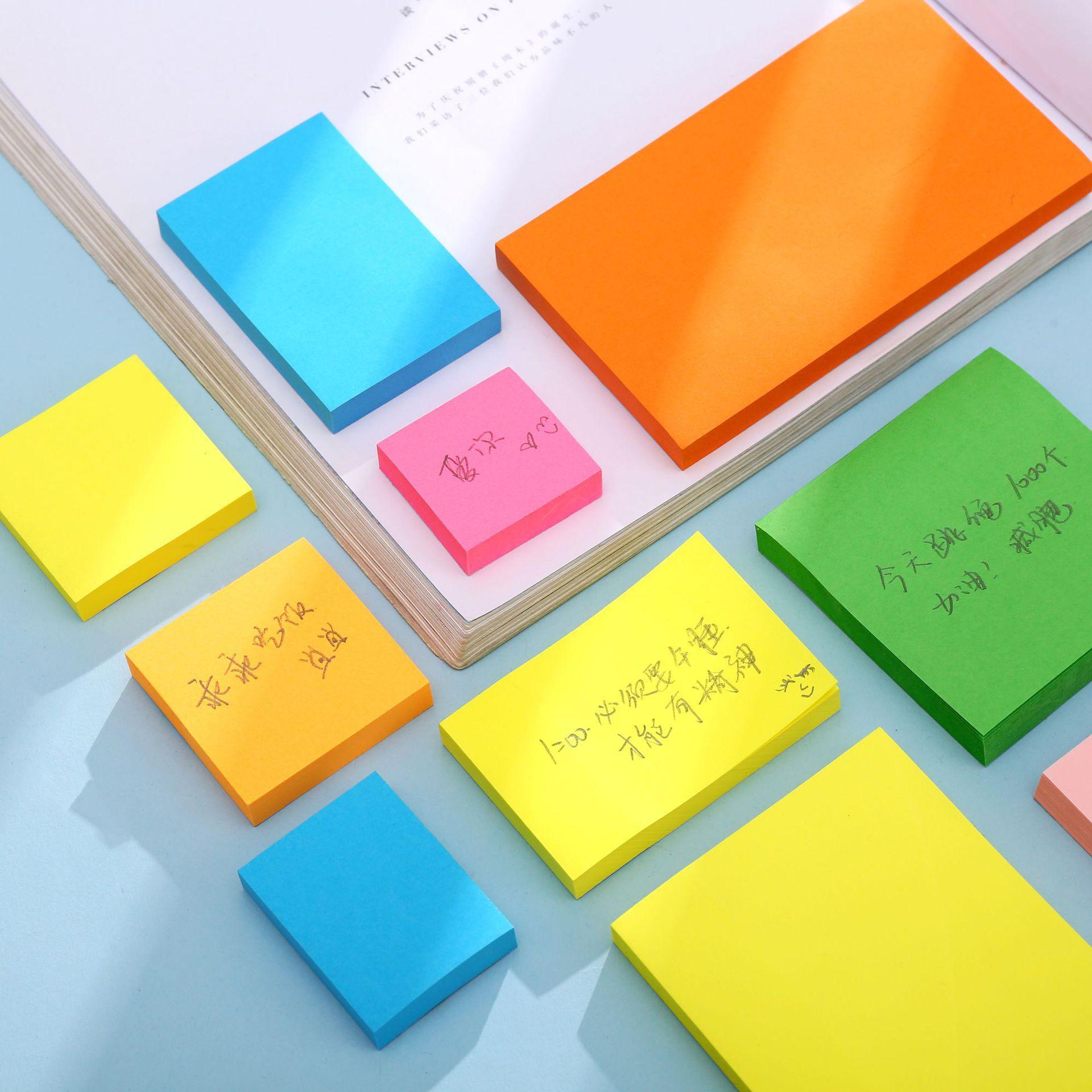 100 Yaprak Not Kağıt Serisi Basit Katı Renk Kawaii Dergisi Kağıt Memo Ped Kendinden Yapışkanlı Okul Ofis Kırtasiye Not BWF3153
