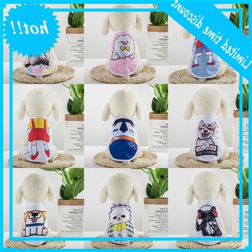 Cartoon cane cat pet vestiti Bichon Teddy Bomei maglia traspirante primavera e gilet di estate sottile xD23786