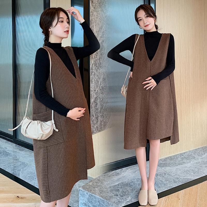 camisa de las mujeres embarazadas juego del otoño vestido de la longitud media de Corea del estilo exterior grande suéter tejido suelto falda de dos piezas