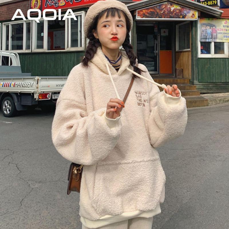 2020 winter koreanische stil chic teddybär frauen hoodies plus größe warm sweatshirt in oversize effer farbe frauen hosen