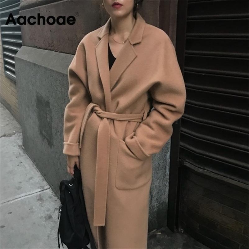 AACHOAE LADY сплошное длинное шерстяное пальто Batwing с длинным рукавом Elegant Office куртка женский поворот воротник повседневная пальто женщины 201217