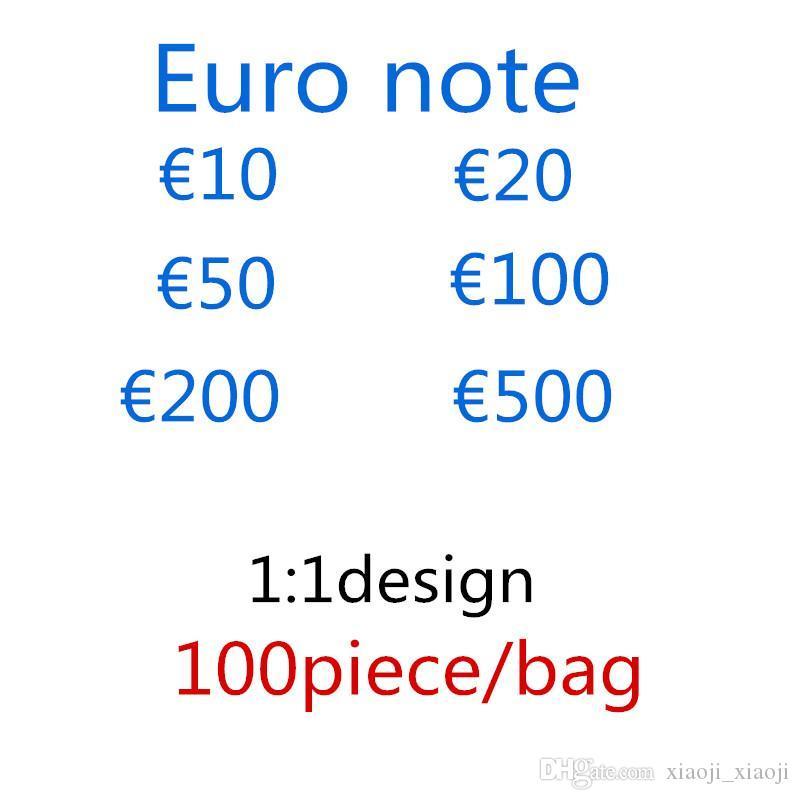 Money Money Quality ProP Expédition Suppression de billets d'argent Faux Jouer à High Euros 100pcs / Pack Euros Free Qifqb