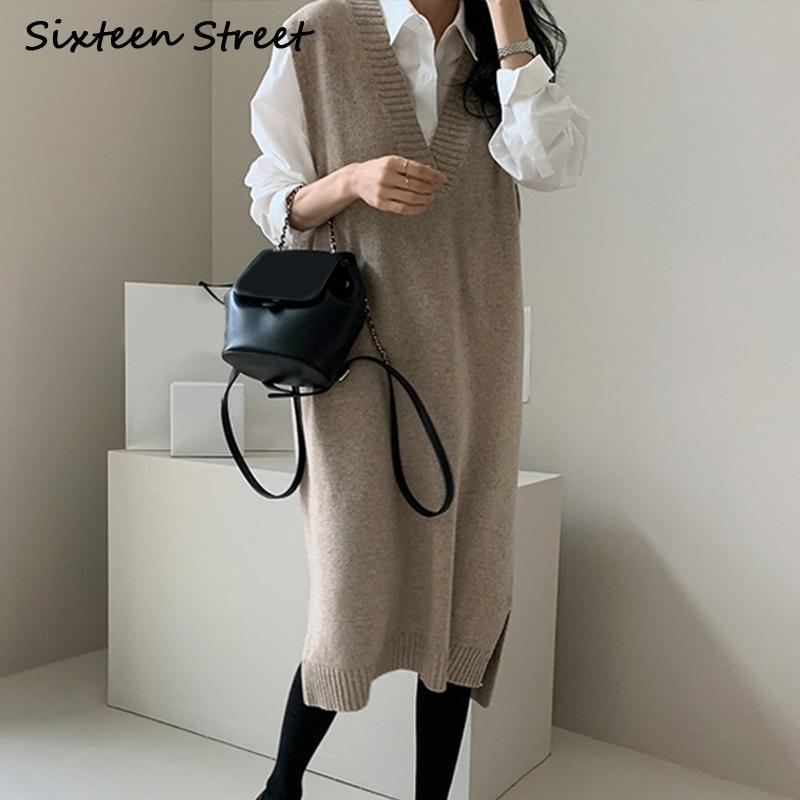 Novo outono sem mangas compras vestidos de malha em v-pescoço quente quente lã suéter feminino outono inverno kitwear mulheres vestuário cinza 20115