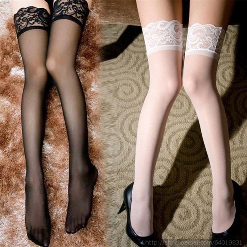 1 пара женщин кружева верхние сексуальные дамы ультратонкие чистые шелк над колено бедро высокие чулочники Sile Band остаются чулки