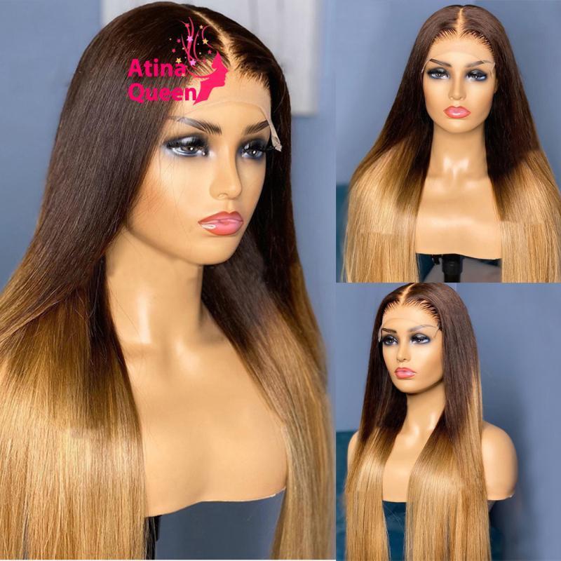 Peluca rubia de miel Preplucidada HD Transparente 250% densidad Ombre Marrón Coloreado largo 100% Pelucas de pelo humano Remy brasileño para mujeres