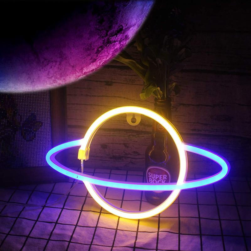 DHL LED NEON LED NEON Light Moon Panneau en forme de Panneau NEON Lampe 5V USB / Batterie alimenté à la maison Décoratif de décoration décoratif de la salle de fête de la chambre de nuit