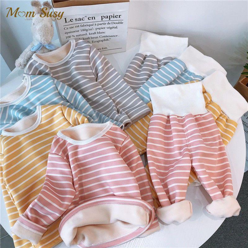 Mom Susy Baby Girl Boy Stripe Velvet Pajamas Sets Winter Infant Toddler Child Homesuit Warm Sleepwear 2PCS Baby Clothes 1-5Y F1207
