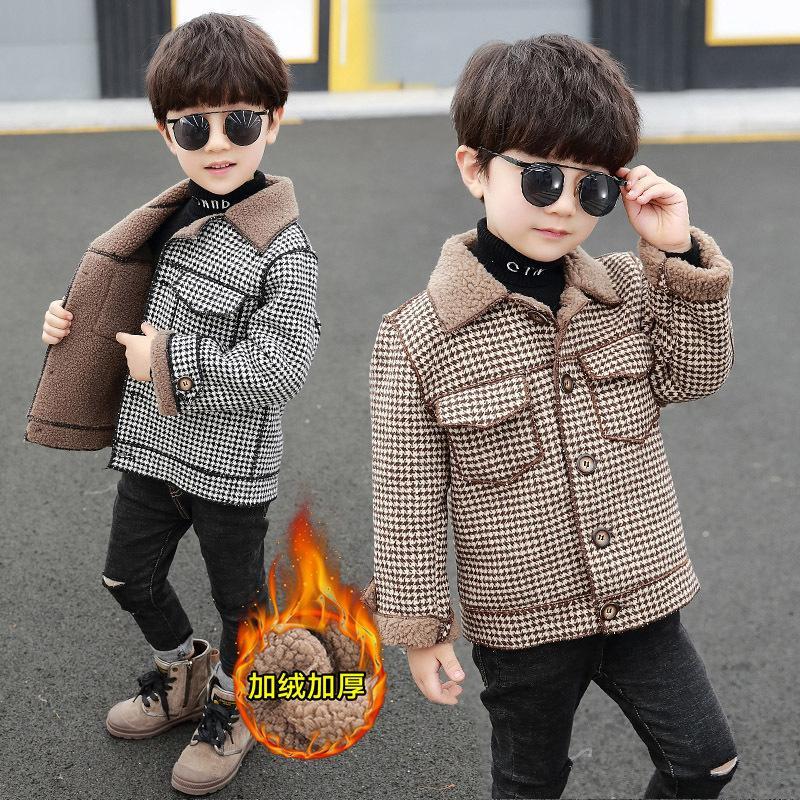 Vêtements d'automne et d'hiver de garçon beau coat tweed de laine de laine 2020 nouveau style étranger