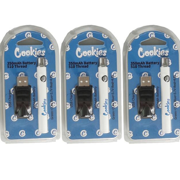 쿠키 vape 배터리 510 나사 배터리 일회용 vapes 펜 기화기 펜 예열 350mAh 조정 가능한 전압 전자 담배 스타터 키트 USB 충전기
