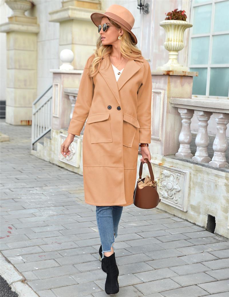 Winter Womens Long Long Wool Colas Col Veste Couleur Solide Multi Poche Épais Mesdames Mélanges Vestes Casual Femme Slim Slim Vêtements d'extérieur