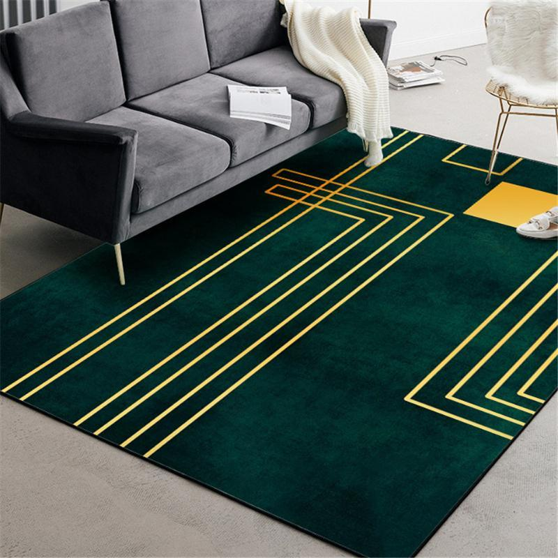 Tappeto verde di lusso nordico con linea geometrica oro camera da letto tappeto semplice moda ragazze di moda tappeto per la stanza per la cucina