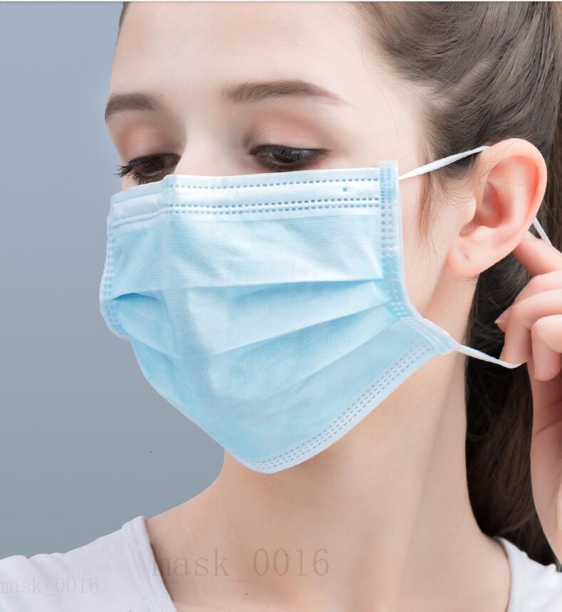 Качество нетканые маски 50/100шт. Высокий одноразовый маска рта 3 слоя фильтр пыли L синие рансы здоровья бесплатный DHL доставка