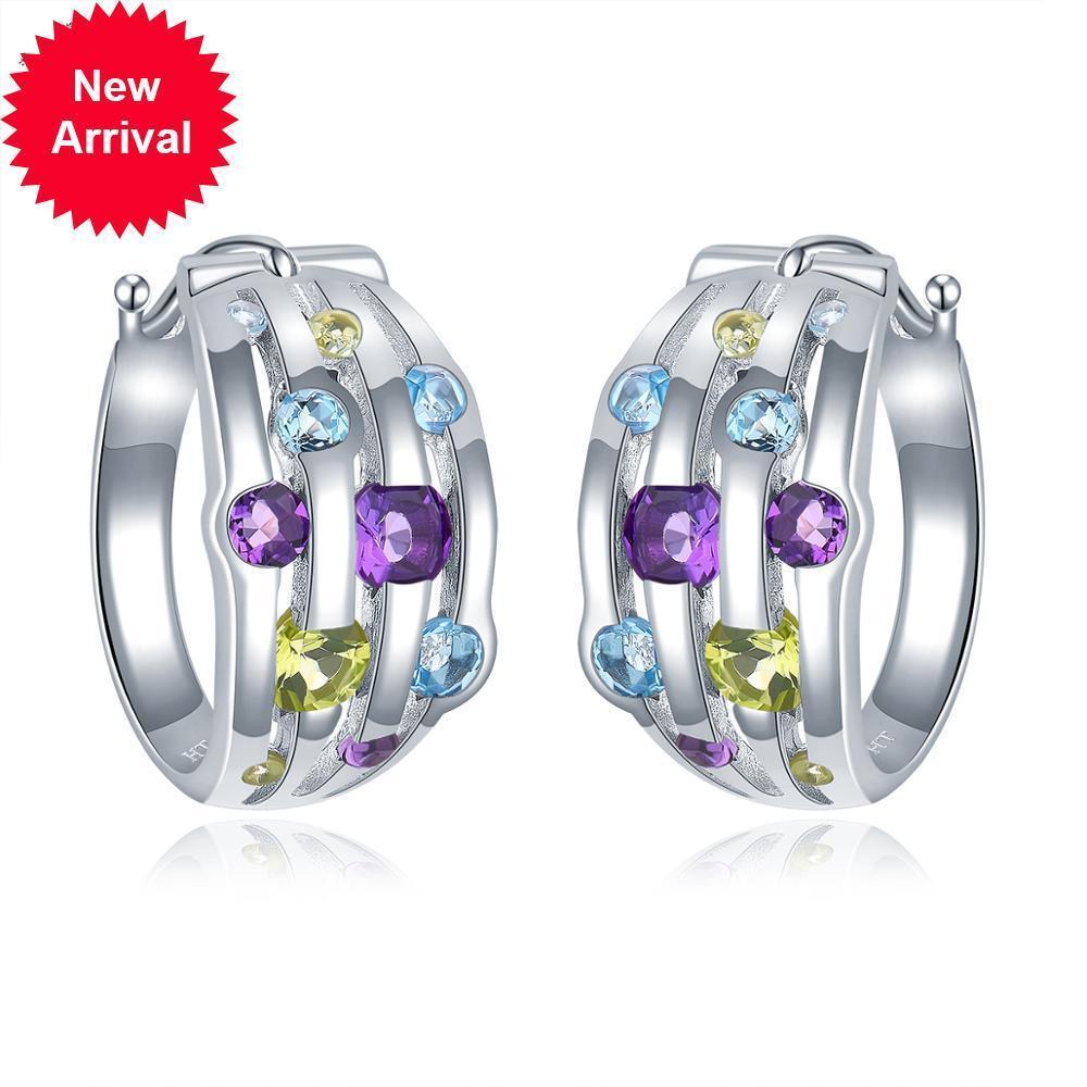 Hutang Natural Améthyste Périot Topaz Silver Femmes colorées Boucle d'oreille pour cadeau d'anniversaire de femmes Design exclusif