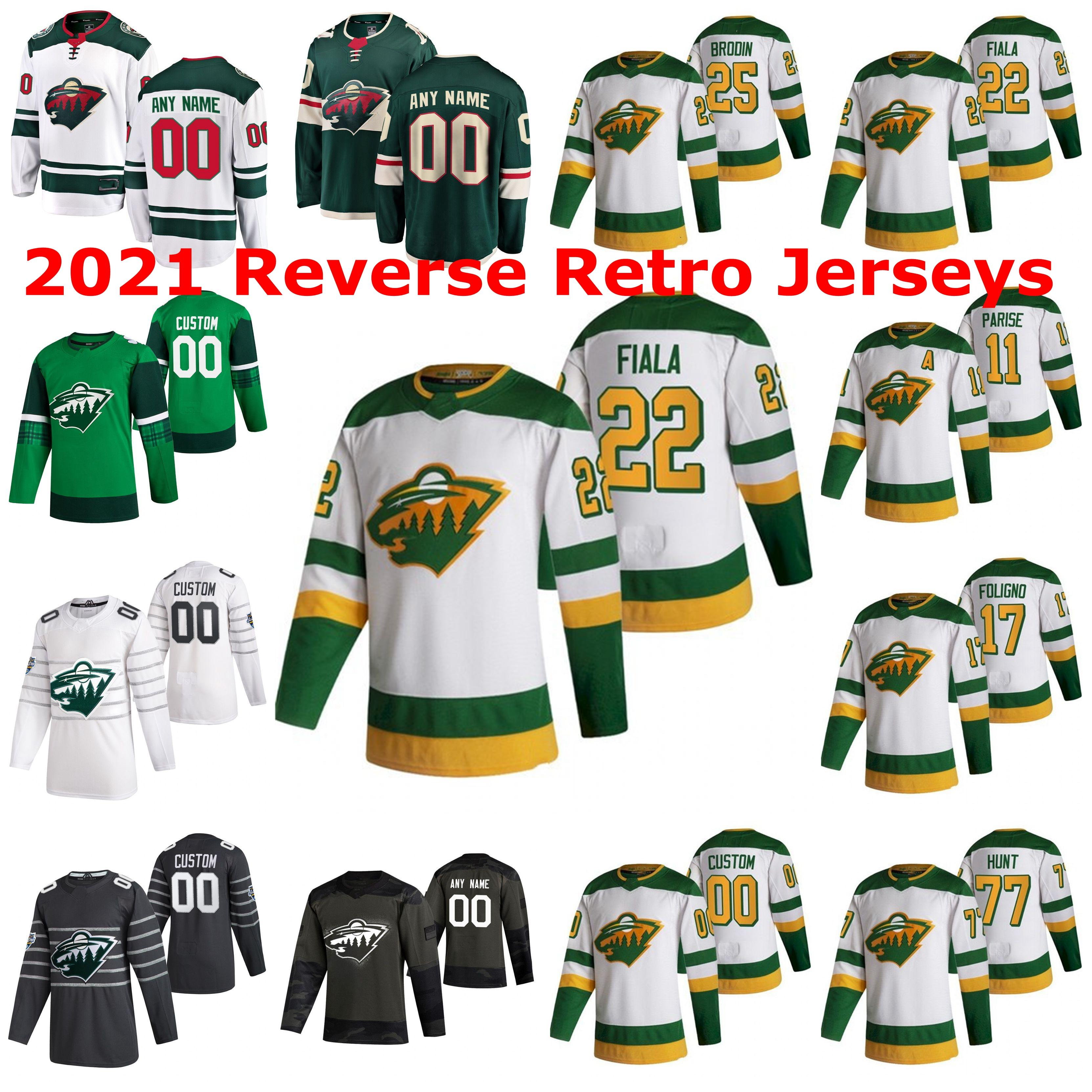 Minnesota Wild 2021 Reverse Retro Jerseys Gabriel Dumont Jersey Joel Eriksson Ek Kevin Fiala Marcus Foligno Nino Niederreiter Custom Stitch